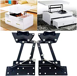 DZTIAN Lift up Top Modern Coffee Table Desk Mechanism Hardware Fitting Convertible Furniture Hinge Spring Stand Rack Bracket 292mm/11.5 Inch (Air-Operated) Black