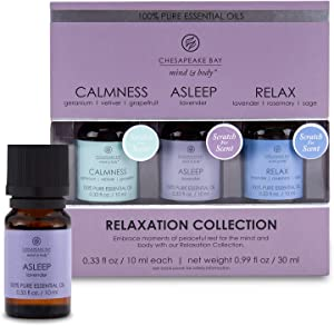 Chesapeake Bay Candle 100% Pure Essential Diffuser Oils Relaxation Set (Alseep, Calmness, Relax) (3-Pack)