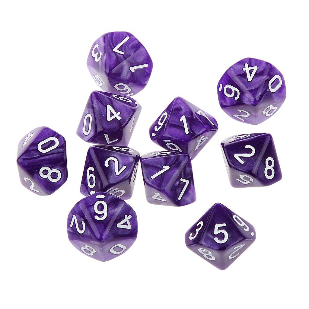 10pcs 22mm Dés Multi-faces Dices Dix Faces D10 D & D RPG Jeux Jouet Cadeau Amateur (Variés) - Violet Generic