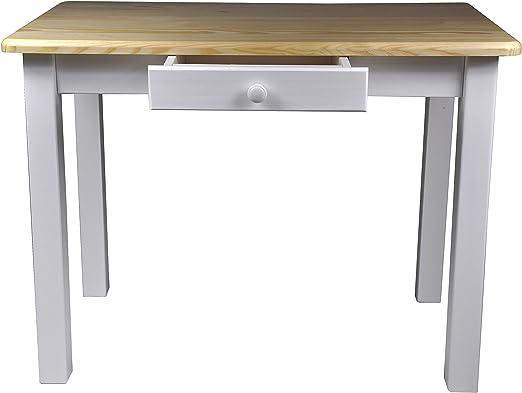 Magnetic Mobel Esstisch mit Schublade Küchentisch Tisch Massiv Kiefer 80 x 60 cm (80x60, Lackiert Kiefer)