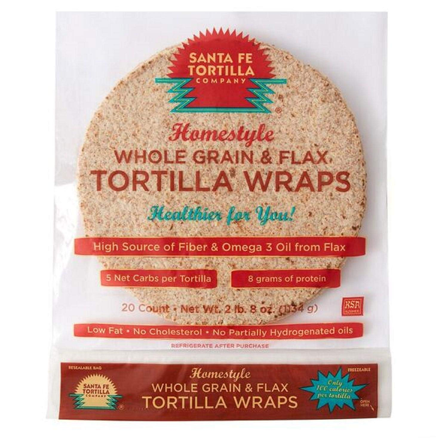 Santa Fe Tortilla Company Home Style Whole Grain Wraps With Flaxseed 20ct Amazon Com Grocery Gourmet Food