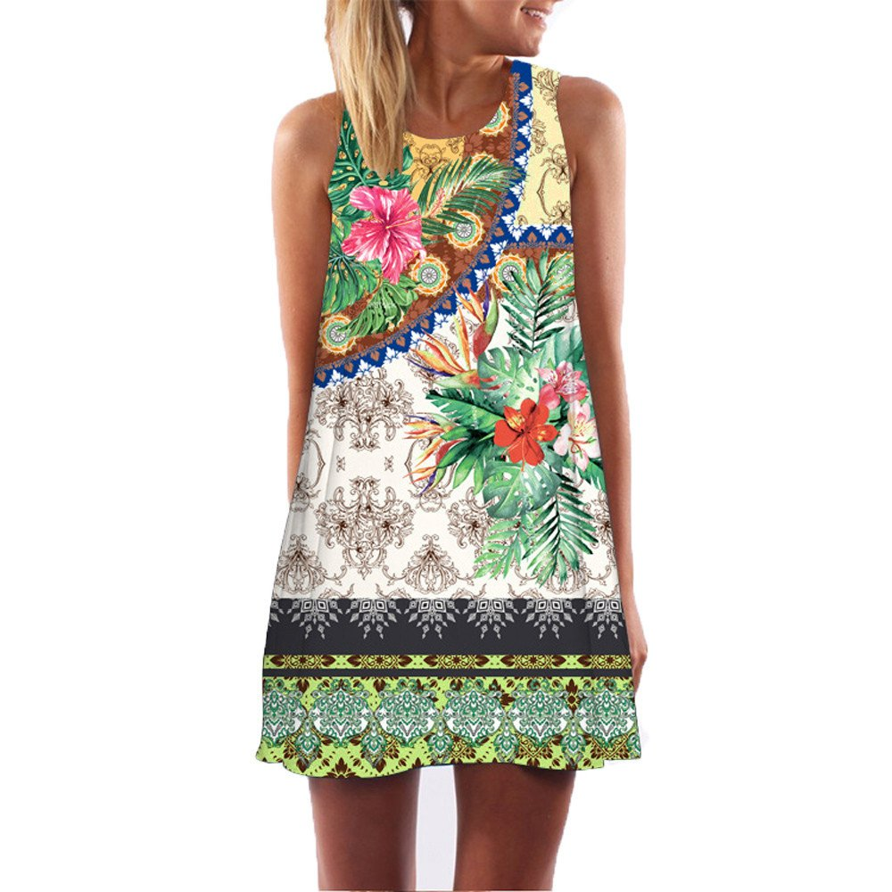TnaIolral Vintage Boho Women Summer Sleeveless Beach Printed Short Mini Dress Green