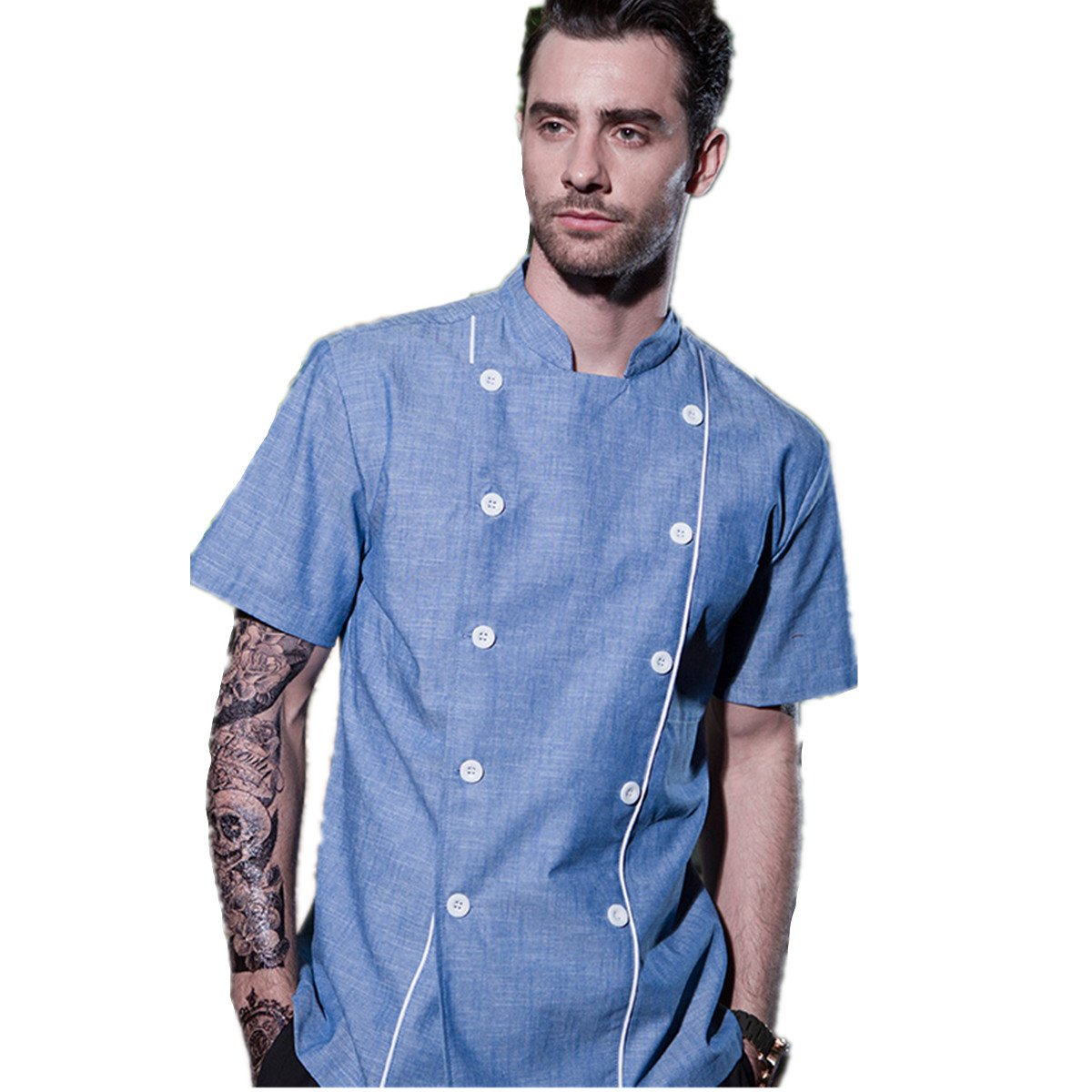 XINFU Men's and Women's Chef Jacket Service Short-Sleeved 10 Button Chef Coat