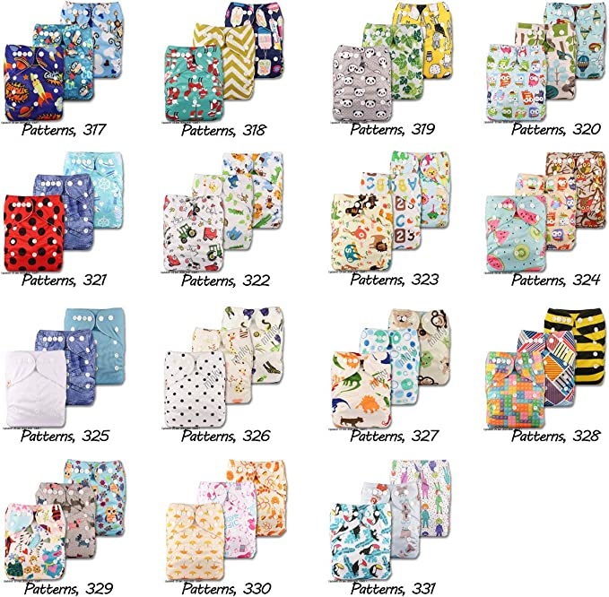 with 1 Microfibre Insert Reusable Pocket Cloth Nappy Fastener: Popper Pattern 84 Set of 1 Littles /& Bloomz