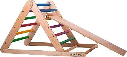 RINAGYM Escalera de Ascenso Triangular - Gimnasio Interior con Tobogán para Bebés y Niños - Marco de Madera, Escalones de Arco Iris, Pintura no Tóxica - Equipo de Equilibrio Plegable: Amazon.es: Deportes
