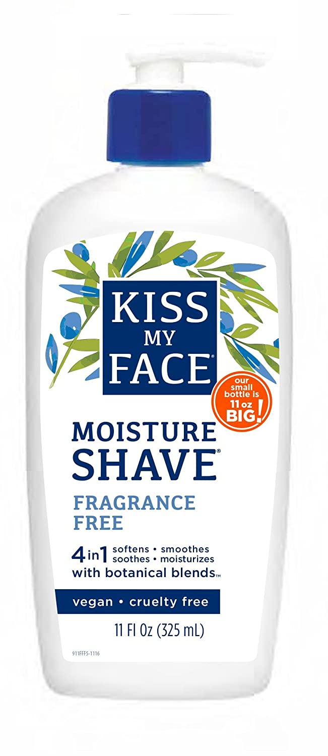 Kiss My Face Moisture Shave 11oz Fragrance Free 4-In-1 Pump (2 Pack) 0901105