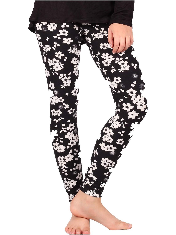 Lori/&Jane Big Girls Black White Floral Soft Leggings 8-12