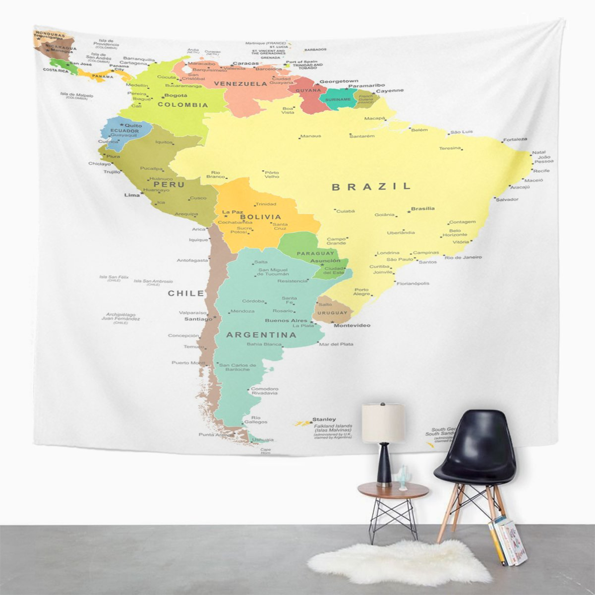 Berrykey Tapestry Central South America Map Paraguay Perú ...