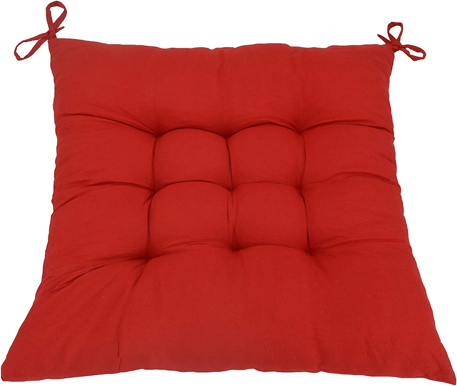 """Red ELFJOY Set of 4 Solid Square 16/"""" x 16/"""" Tufted Chair Pads Indoor Seat Cushions Pillows with Ties"""