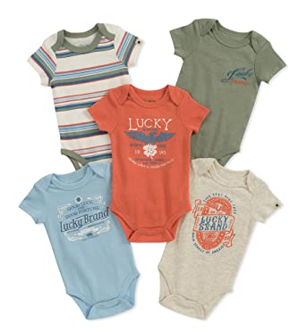 6a4203c36 Amazon.com: Lucky Brand Baby Boys' Infant 5 Pack Bodysuits: Clothing