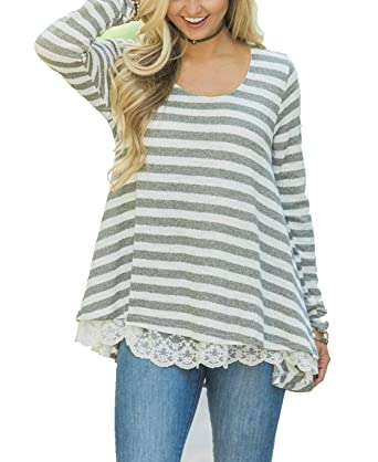 7297255a38e BISHUIGE Women s Lace Long Sleeve Stripes Tunic Top Blouse at Amazon ...