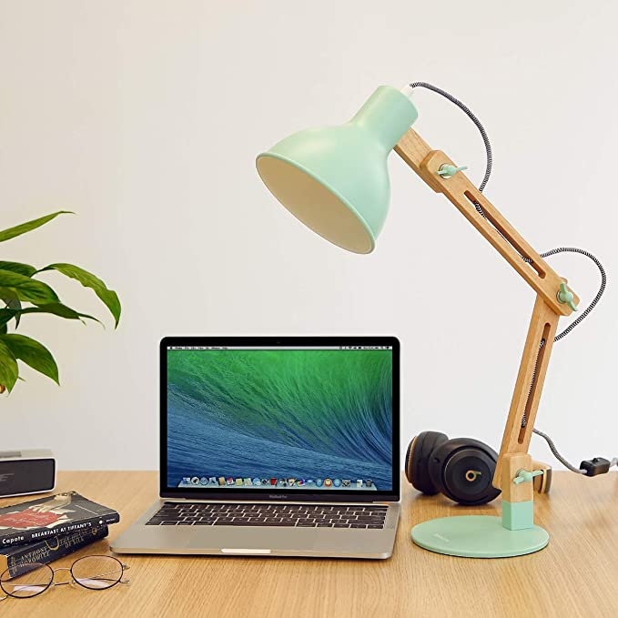 Tomons Swing Arm Led Desk Lamp Natural Wood Designer Table Lamp For Living Room Studio Study And Office Green Amazon Co Uk Kitchen Home