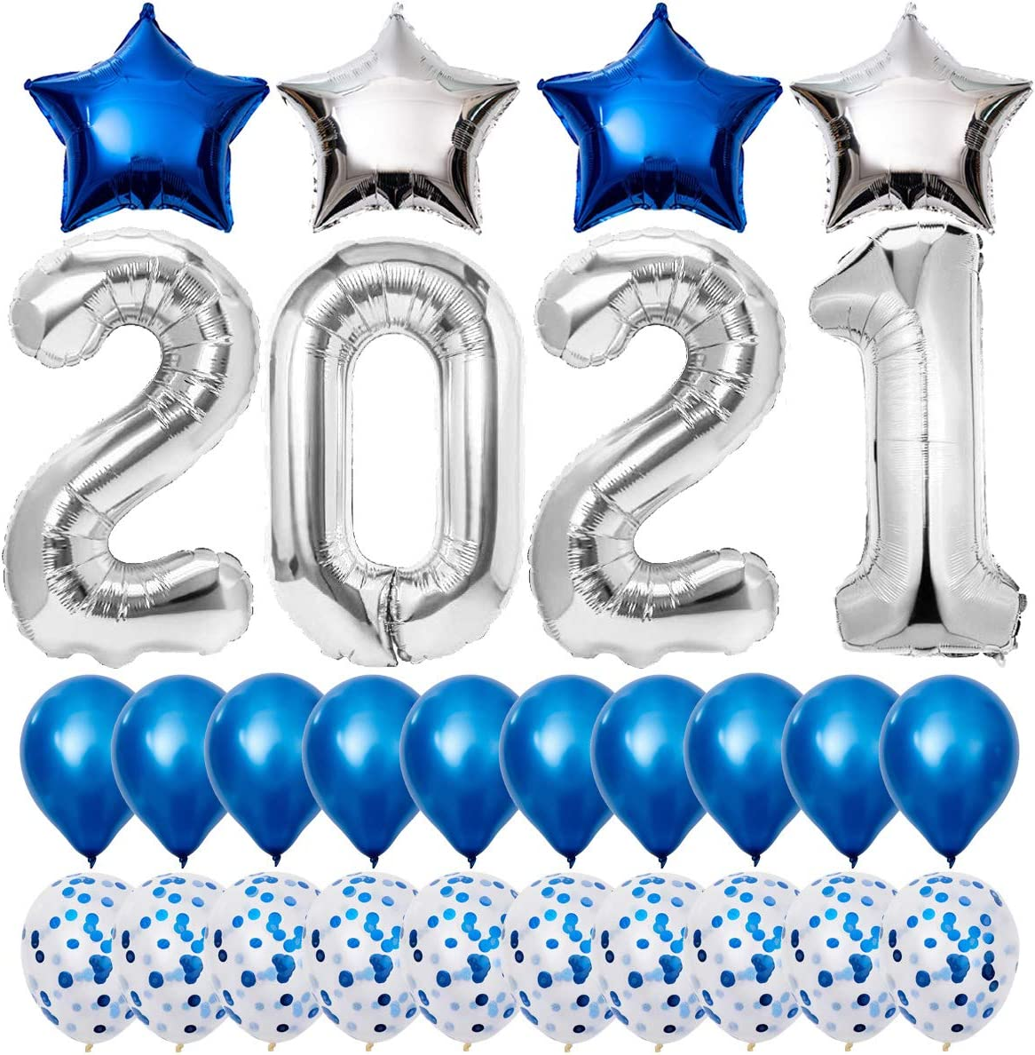 2021 Balloons Graduation Decorations, Graduation Party Supplies 2021, 40 Inch Silver 2021 Balloons with 4 Star Mylar Foil and 20 Latex Balloon, New Years Eve Party Supplies - Blue and White