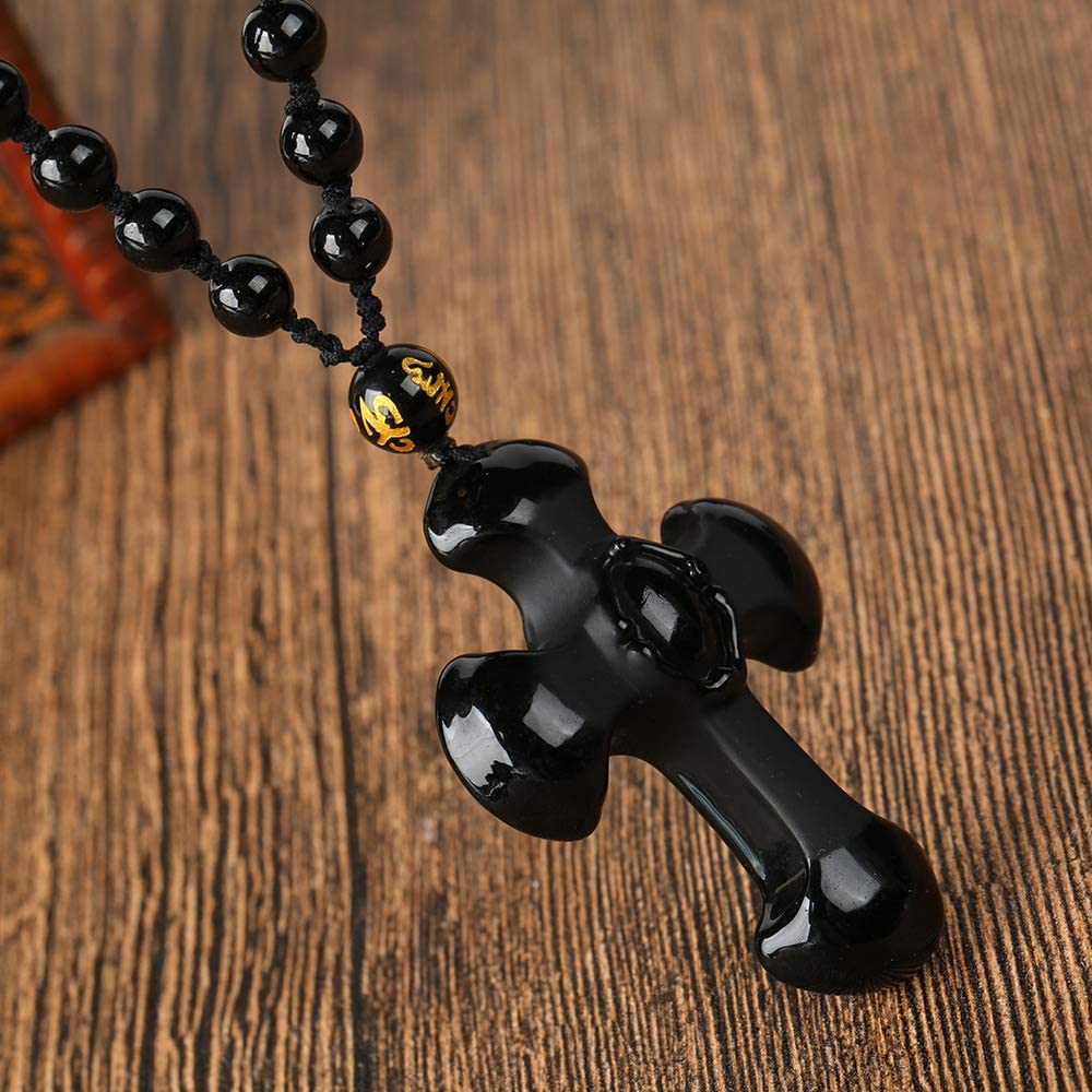 SWAOOS Handmade Om Beads Chain Natural Black Obsidian Carving Crosses Lucky Amulet Pendant Necklace for Women Men