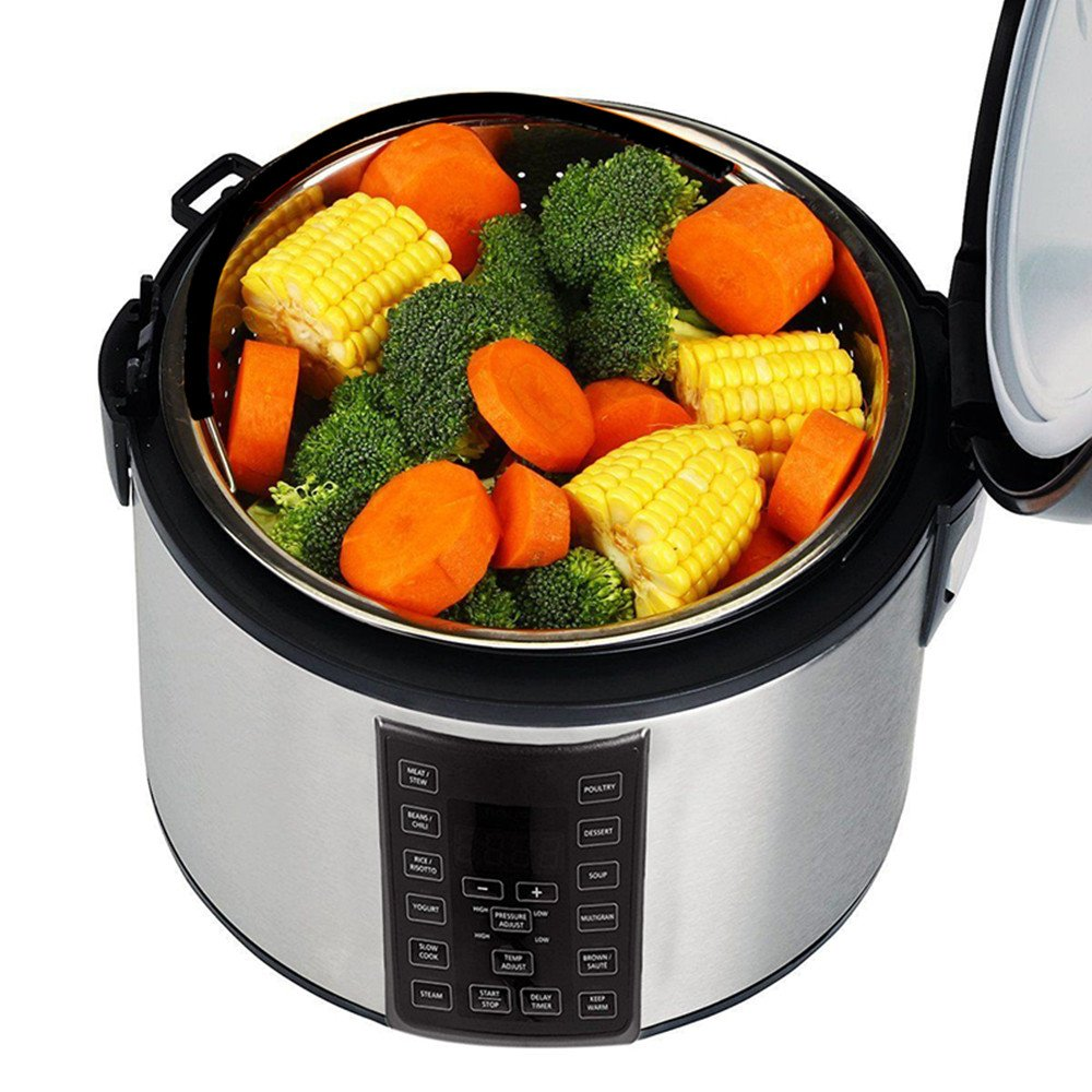 Steamer Basket for 6 or 8 qt Instant Pot Pressure Cooker Great Instant Pot Accessories for Steaming Vegetables Eggs Meats 304 Stainless Steel Steamer Insert Basket with Silicone Handle