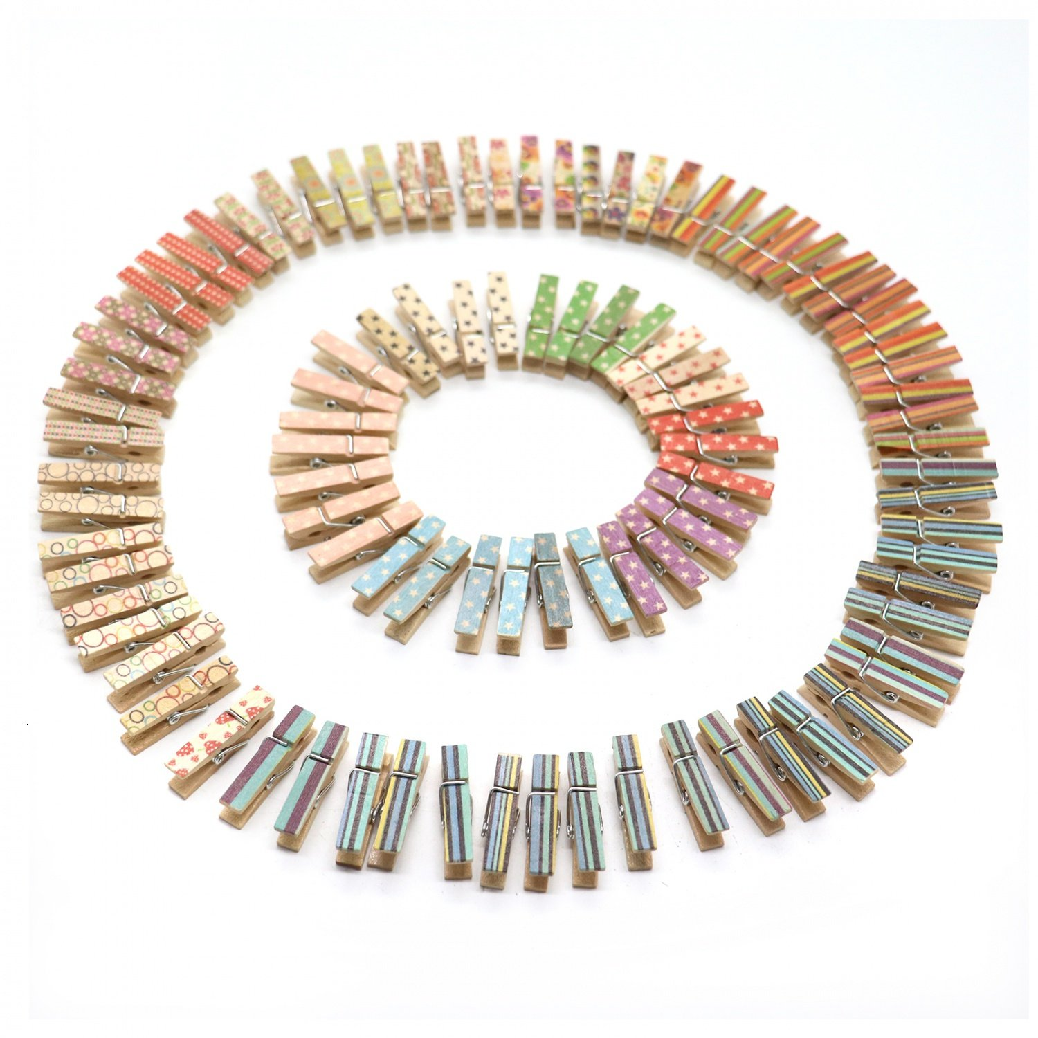 HUELE 100 Pieces Wooden Clothespin Colorful Painted Wood Mini Clothespin for Photo Clips,Hanging Small Clothing