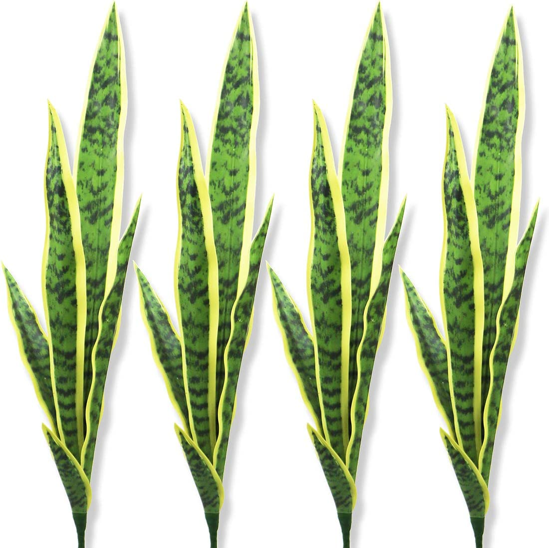 "Bird Fiy Artificial Snake Plants 30"" Faux Agave Fake Sansevieria Artificial Silk Plant for Home Garden Office Store Decoration 4 Pcs (Yellow)"