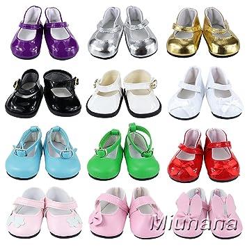 44e3cc070 Amazon.es: Miunana 5 pares Zapatos Lona Casuales Lindo Diferentes Tipos  Botas Vestir Fiesta Accesorios como Regalo para 18 Inch Americana Girl Doll  Muñeca: ...