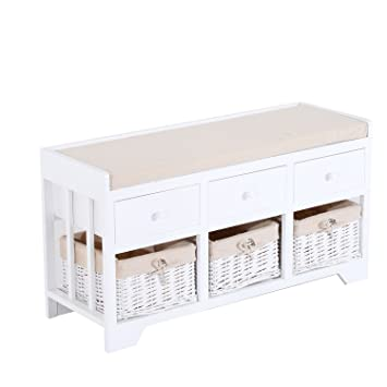 Fabulous Homcom Wooden Unit Storage Bench Wood Seat Seater Woven Wicker Baskets Drawers Hallway Porch White W Cushion Removable Linings 3 Drawers 3 Onthecornerstone Fun Painted Chair Ideas Images Onthecornerstoneorg