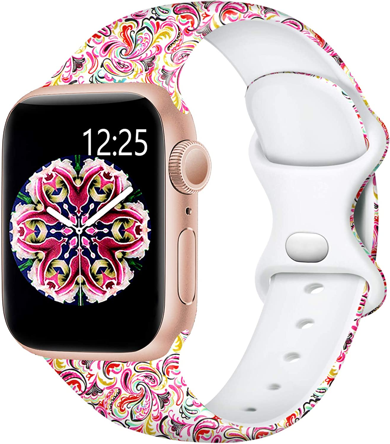 Easuny Compatible for Apple Watch Band 40mm 38mm 44mm 42mm Womens Girls - Cute Fadeless Floral Soft Pattern Printed Silicone Replacement Wristband for iWatch SE & Series 6/5/4/3/2/1