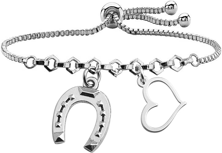 BAUNA Lucky Horseshoe Bracelet Love Heart Pendant Good Luck Horseshoe Charm Adjustable Link Bracelet for Cowboy Cowgirl Horse Lover Gifts Equestrian Riding Gift