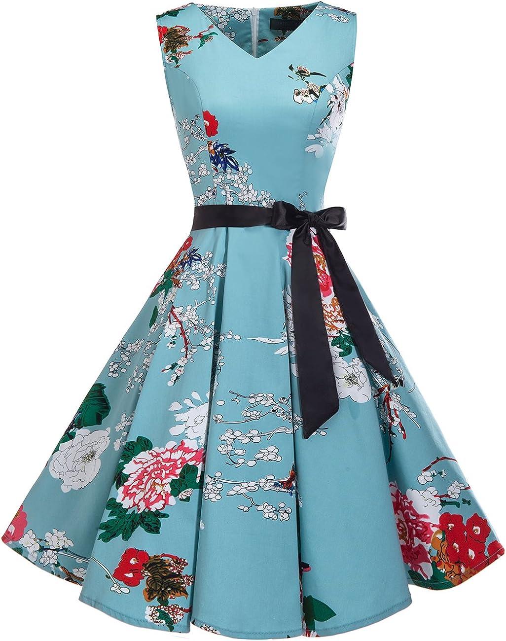 TALLA M. Bridesmay Vestido de Cóctel Fiesta Mujer Verano Años 50 Vintage Rockabilly Sin Mangas Pin Up Floral