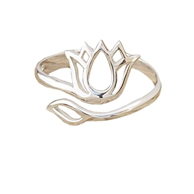 Sterling Silver Lotus Blossom Flower Ring Yoga Mantra Namaste Gift