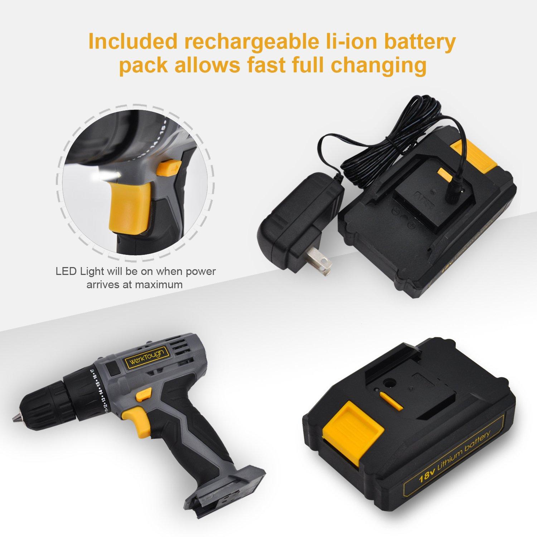 Werktough D018 18V Cordless Drill Driver Powerful Screwdriver Lion Battery