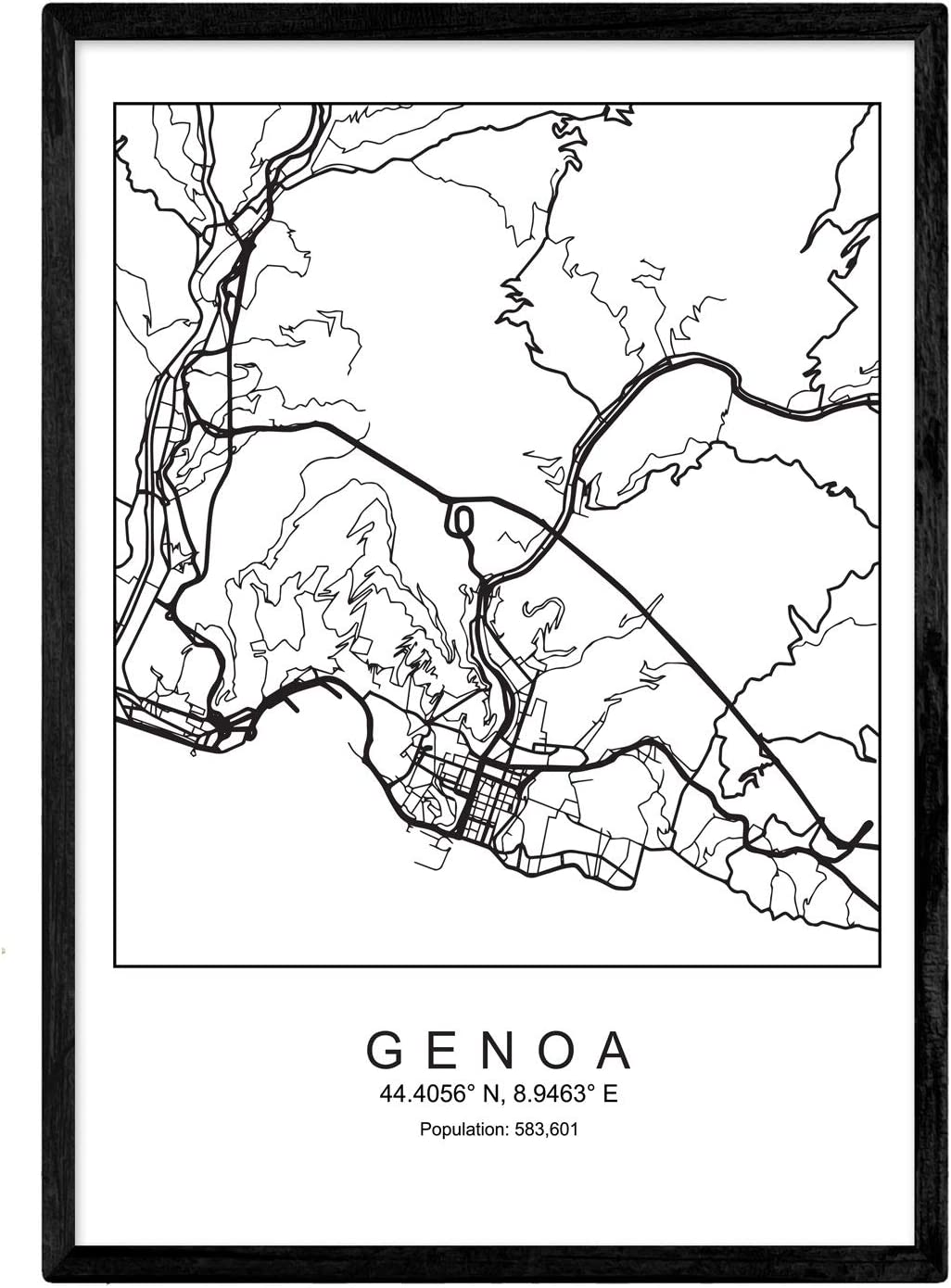 Nacnic Prints Genoa City Map Nordic Style - Set of 1 - Unframed 11x17 inch Size - 250g Paper - Beautiful Poster Painting for Home Office Living Room