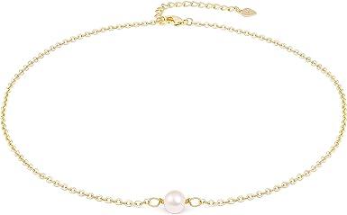 Gold Filled Choker Single Pearl Choker  Short Pearl Necklace  single Pearl Necklace