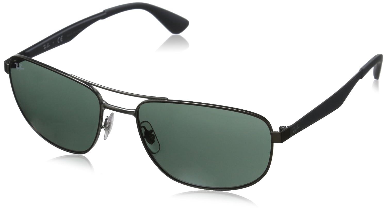 Ray-Ban 0Rb3528 Gafas de sol, Rectangulares, 58, Matte Gunmetal