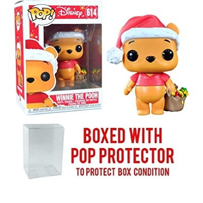 Disney Pop Holidays Winnie The Pooh Holiday Vinyl Figure Bundled with Pop Shield Protector: Toys & Games