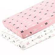 Stretchy Fitted Pack n Play Playard Sheet Set-Brolex 2 Pack Portable Mini Crib Sheets,Convertible Playard Mattress Cover,Ultra Soft Material,Pink & White Arrow Design