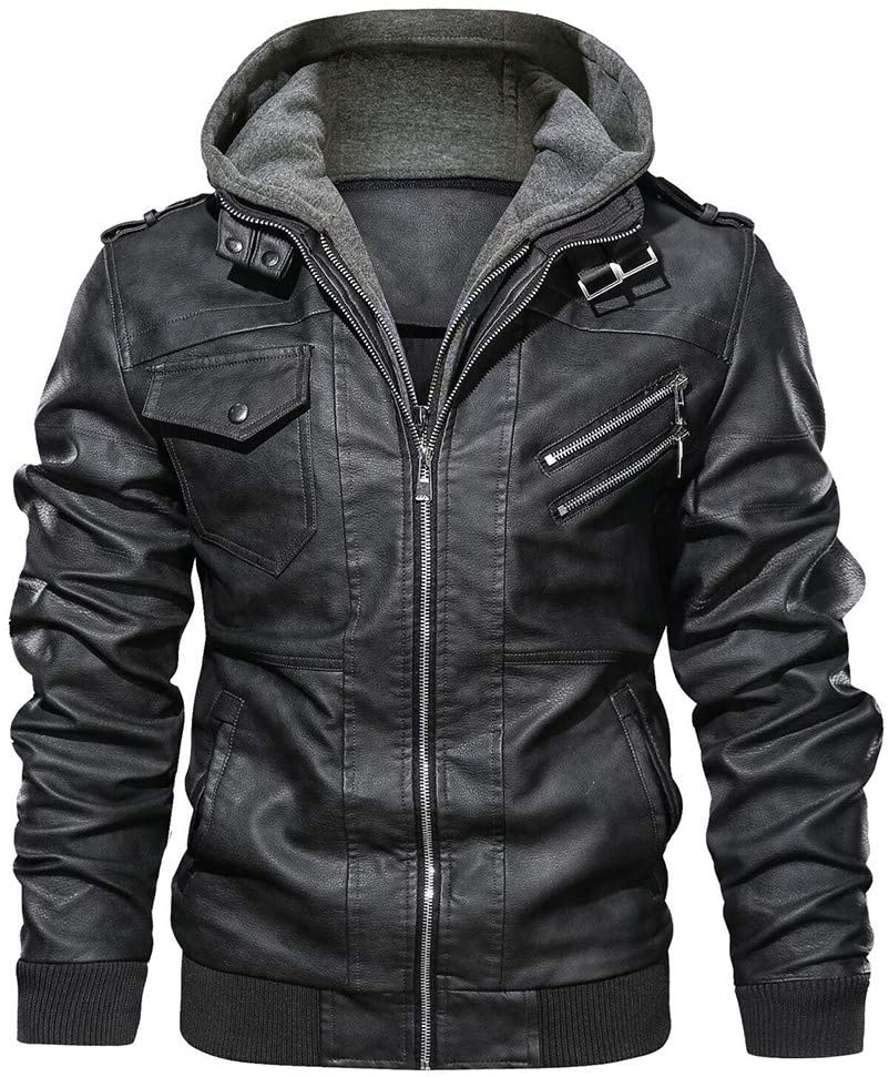 Winter Mens Leather Hoodie Jacket Removable Hood Men Thick Zipper Warm Coat Brown Brown-M