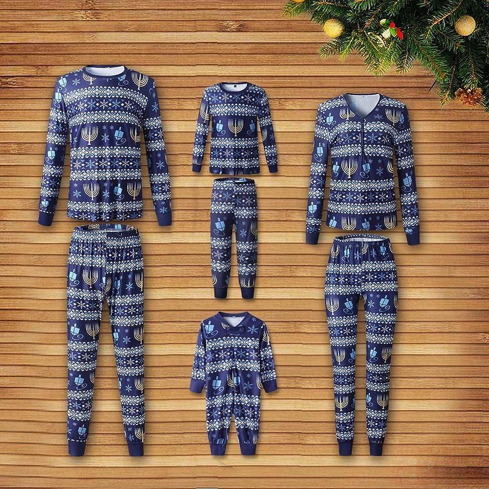 Trisee Conjunto de Pijama de Familia Navidad para Hombre Mujer Niño Niña Bebé, Camiseta de Invierno Azul de Manga Larga Estampada Vintage de Invierno y Pantalones Largos Casuales Estampados Vintage: Amazon.es: Ropa