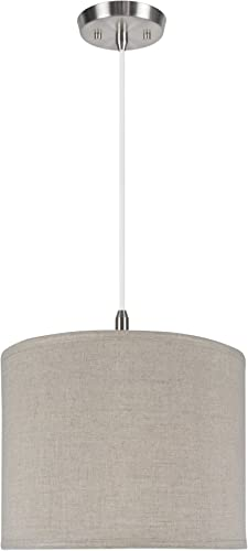 Aspen Creative 71037 One Pendant with Hardback Drum Shaped Spider Shade, 14 x 14 x 11, Light Grey
