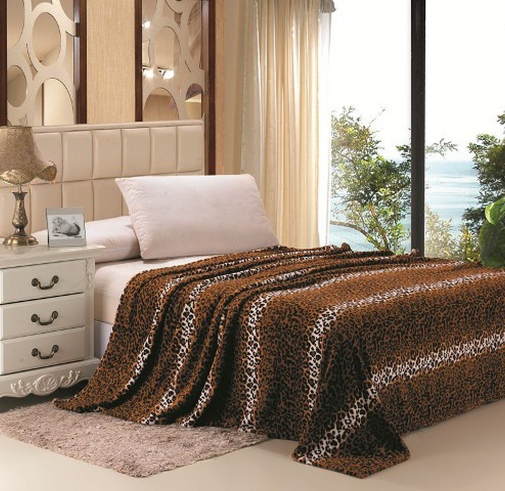 Home Must Haves Safari Animal Print Ultra Soft Brown Leopard Microplush Blanket (King)