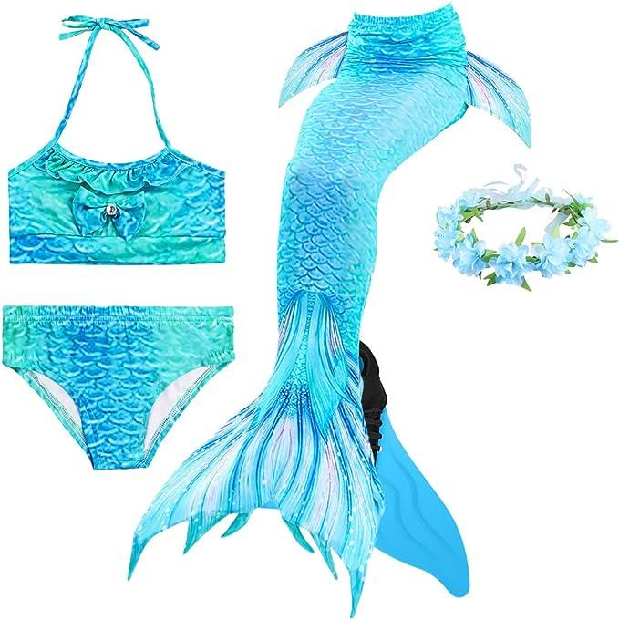 DE Kinder Mädchen Jungen Meerjungfrau Schwanzflosse Monoflosse Schwimmen Mermaid