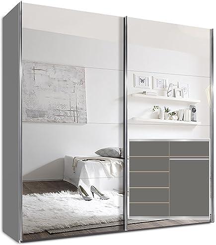 Kleiderschrank weiß spiegel  Kleiderschrank Schwebetürenschrank, 225 x 220 x 69 cm, inkl. 5 ...