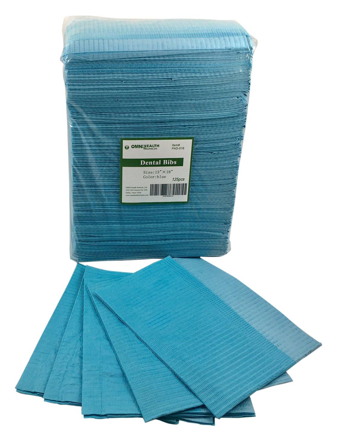OMNI Health PAD-016 Dental Bib's/Lab Cloth, 3-Ply, Blue, (Pack of 500)