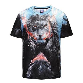 Camiseta estampada en 3D de manga corta para hombre personalizada cuello redondo estampado de león Camisetas