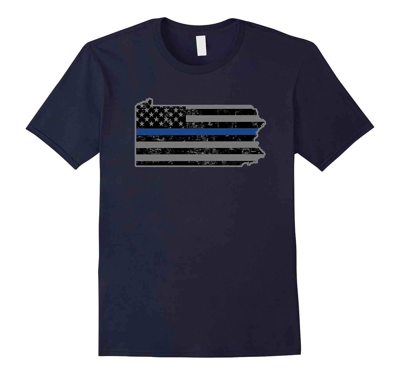 Pennsylvania State Police Shirt Thin Blue Line Flag Shirt-TH