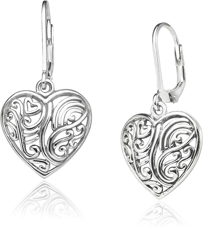 Valentines Day or not; Heart Dangle Pierced Earrings of 925 Sterling Silver Filigree