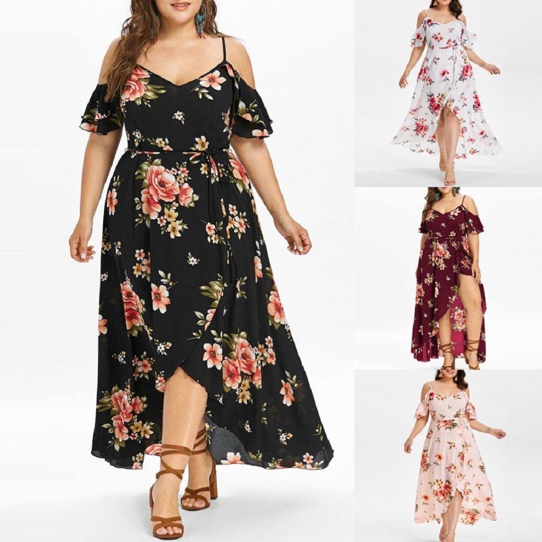 c50636aae79 GONKOMA Dresses Women s Plus Size Dress Short Sleeve Cold Shoulder Boho  Flower Print Long Dress at Amazon Women s Clothing store
