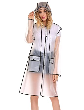 5f3439a3f325e Keelied Women Girls Transparent Hooded Raincoat Waterproof Jacket Poncho  Rainwear  Amazon.co.uk  Clothing
