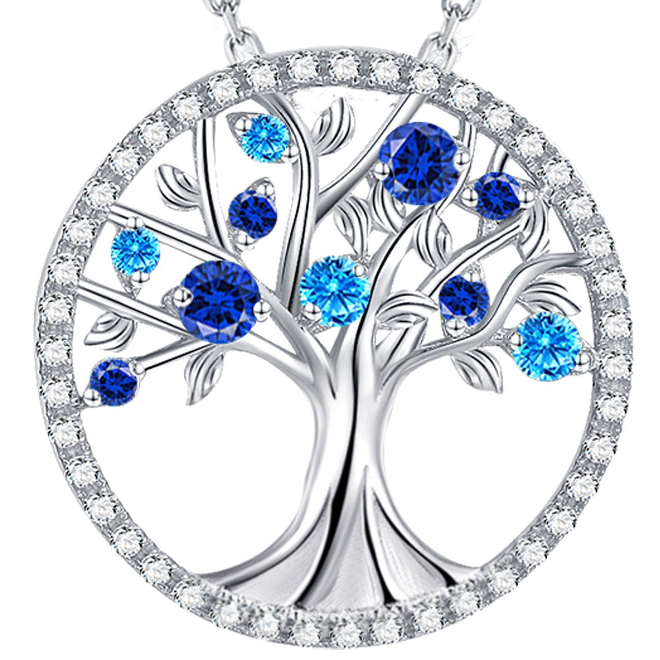 September Birthstone The Tree of Life Jewelry Created Sapphire Pendant and December Birthstone Created Blue Topaz Necklace Sterling Silver Birthday Anniversary Gifts for Her Family