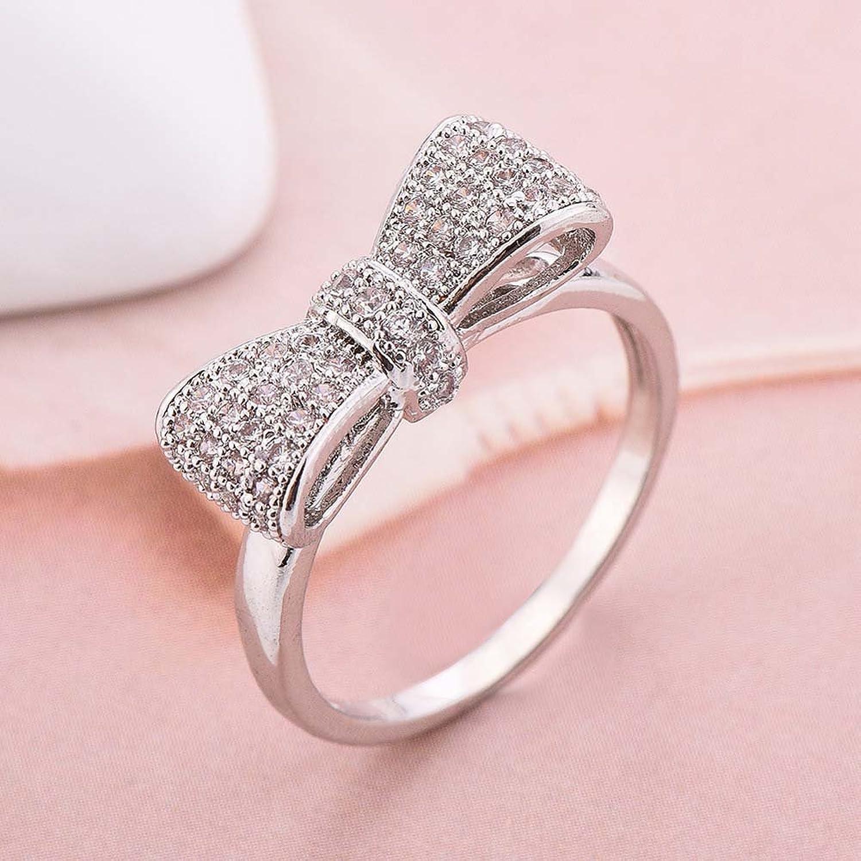 Amazon.com: Women Alloy Zircon Silvery Plated White CZ Diamond Bow ...