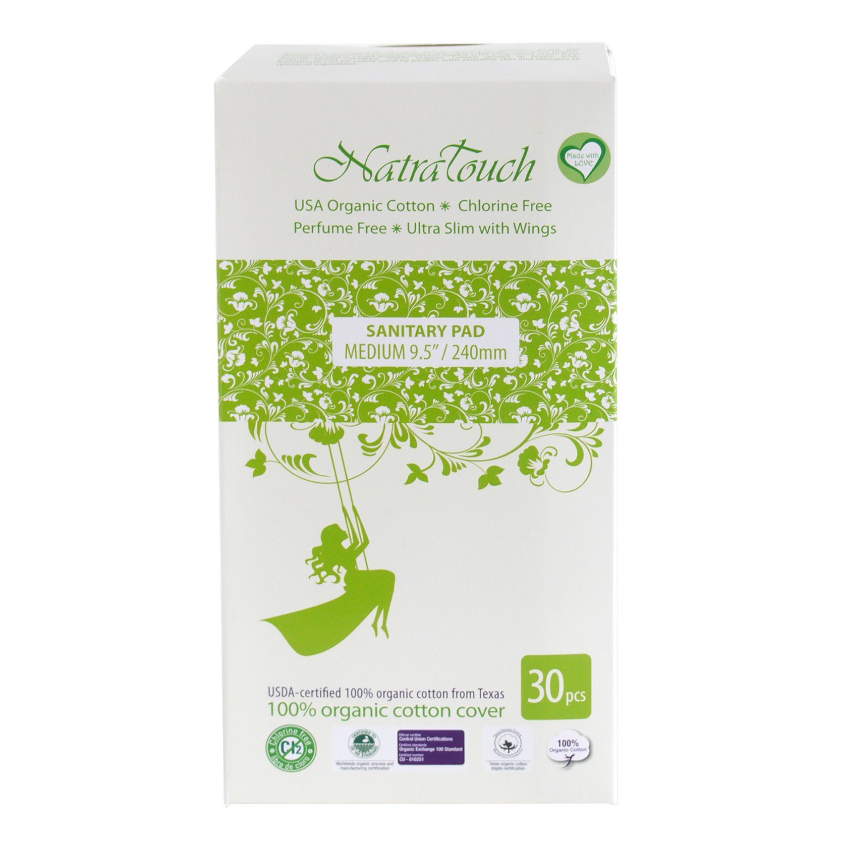Natratouch Organic Cotton Sanitary Pads Ultra Slim with Wings 30 piece (Medium)