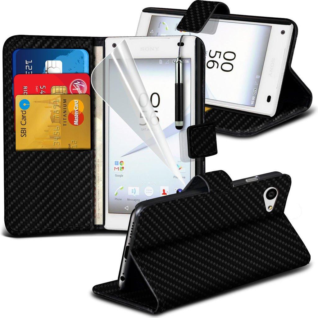 (Noir) Carbon Case Fibre pour Sony Xperia Z5 étui portefeuille en cuir élégant Clasic Faux New Carbon Fibre Style Book de style flip Side style Portefeuille Housse Durable de cas avec des fentes de cartes