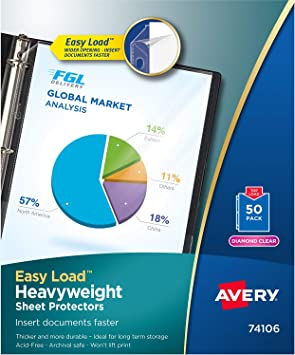 """Avery Diamond Clear Top Loading Sheet Protector Letter 8.50/"""" X 11/"""""""